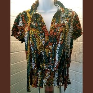 Blouse Size L V-Neck Ruffles Accented Green Yellow